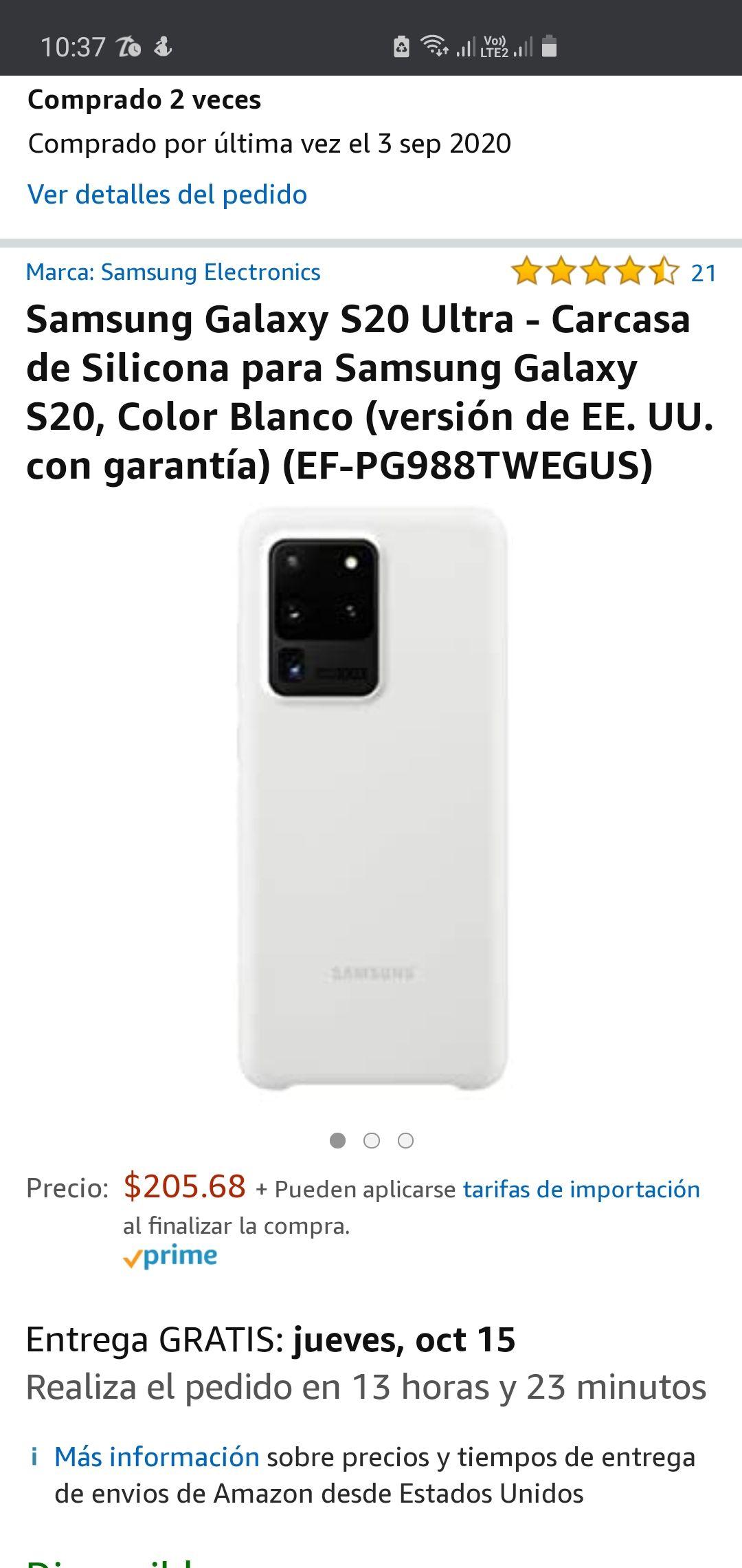 Amazon: funda original de silicón para Samsung S20 Ultra