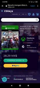 CDKEYS: MARVEL'S AVENGERS BETA ACCESS PARAX BOX ONE
