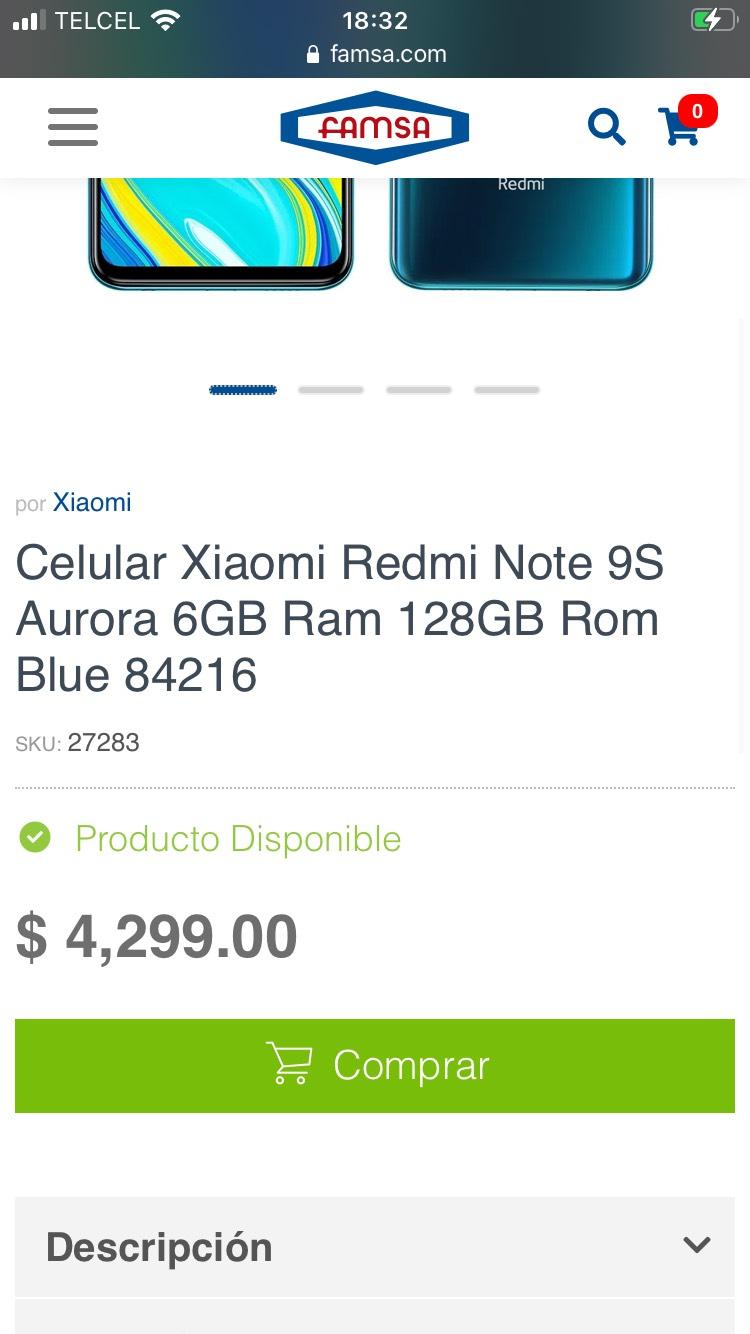 Famsa: Xiaomi Redmi Note 9S 6Gb 128Gb Azul