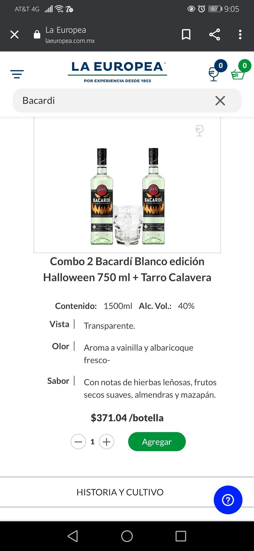 La Europea: Combo 2 Bacardi Halloween + Tarro de Regalo