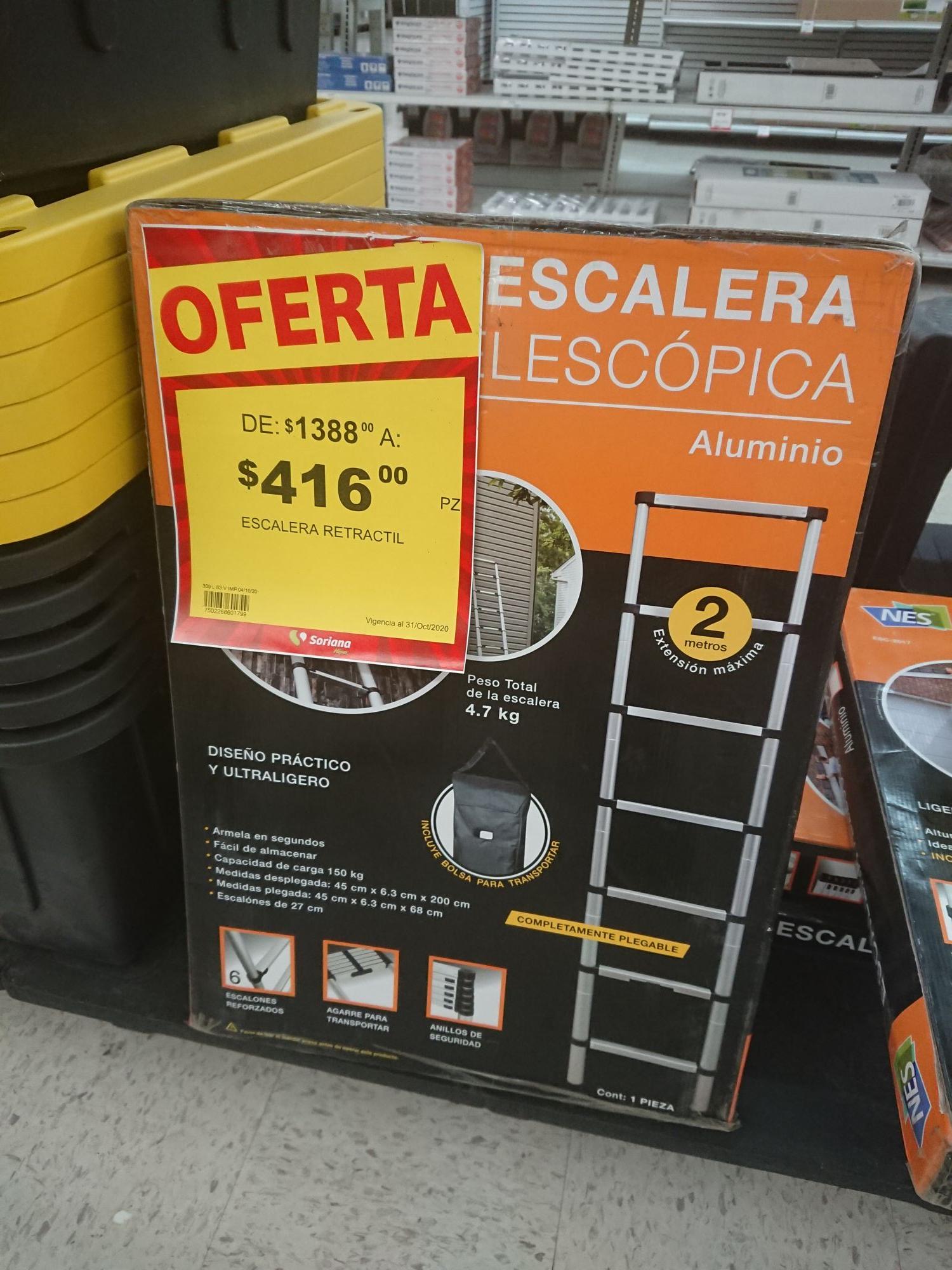 Soriana: Escalera telescopica 2m. Con funda