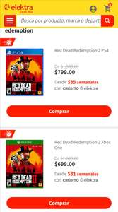Elektra: Red Dead Redemption 2 PS4 $799 y Xbox One $699