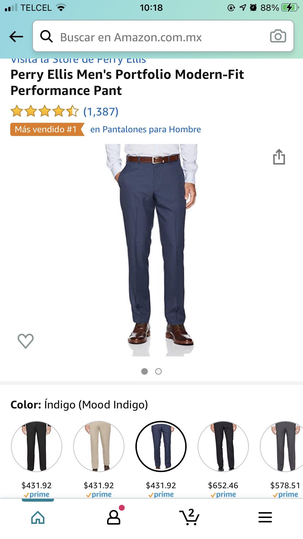 Amazon Perry Ellis Men's Portfolio Modern-Fit Performance Pant varias tallas y colores