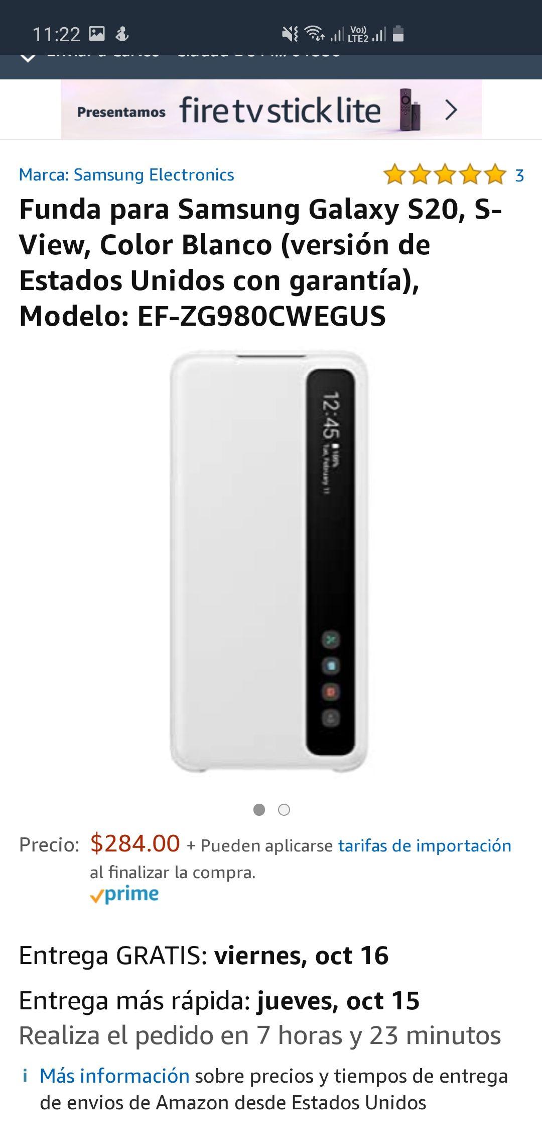Amazon: funda S-view Samsung Galaxy S20, blanca