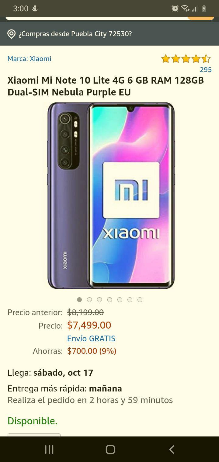 Amazon. Xiaomi Mi Note 10 Lite 4G 6 GB RAM 128GB Dual-SIM Nebula Purple EU