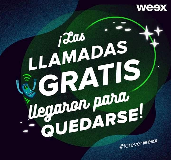 Llamadas gratis en weex al recargar $100 (Promocion por tiempo indefinido)