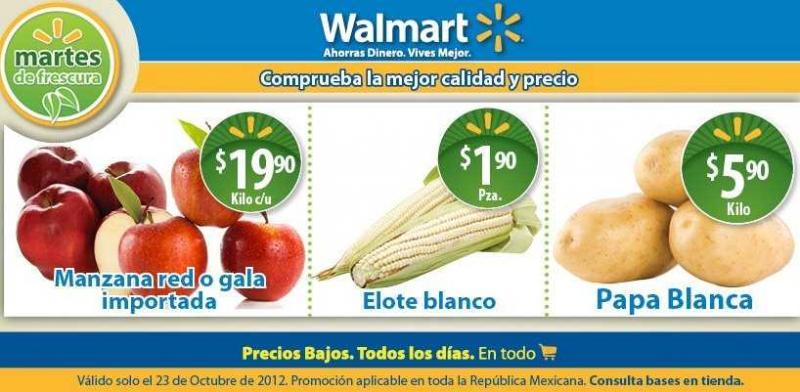 Martes de frescura Walmart octubre 23: papa $5.90, elote $1.90 y más