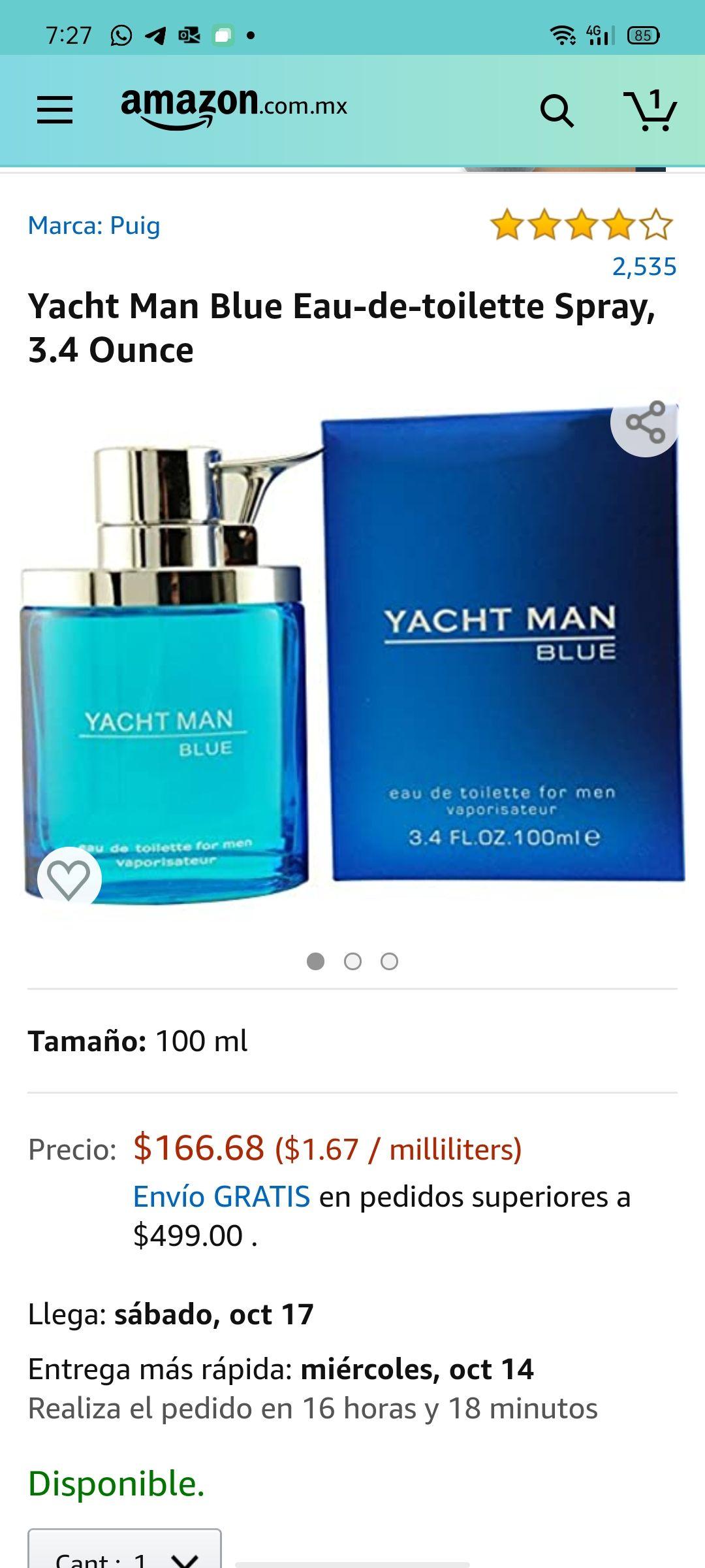 Amazon: Yacht Man Blue Eau-De-Toilette