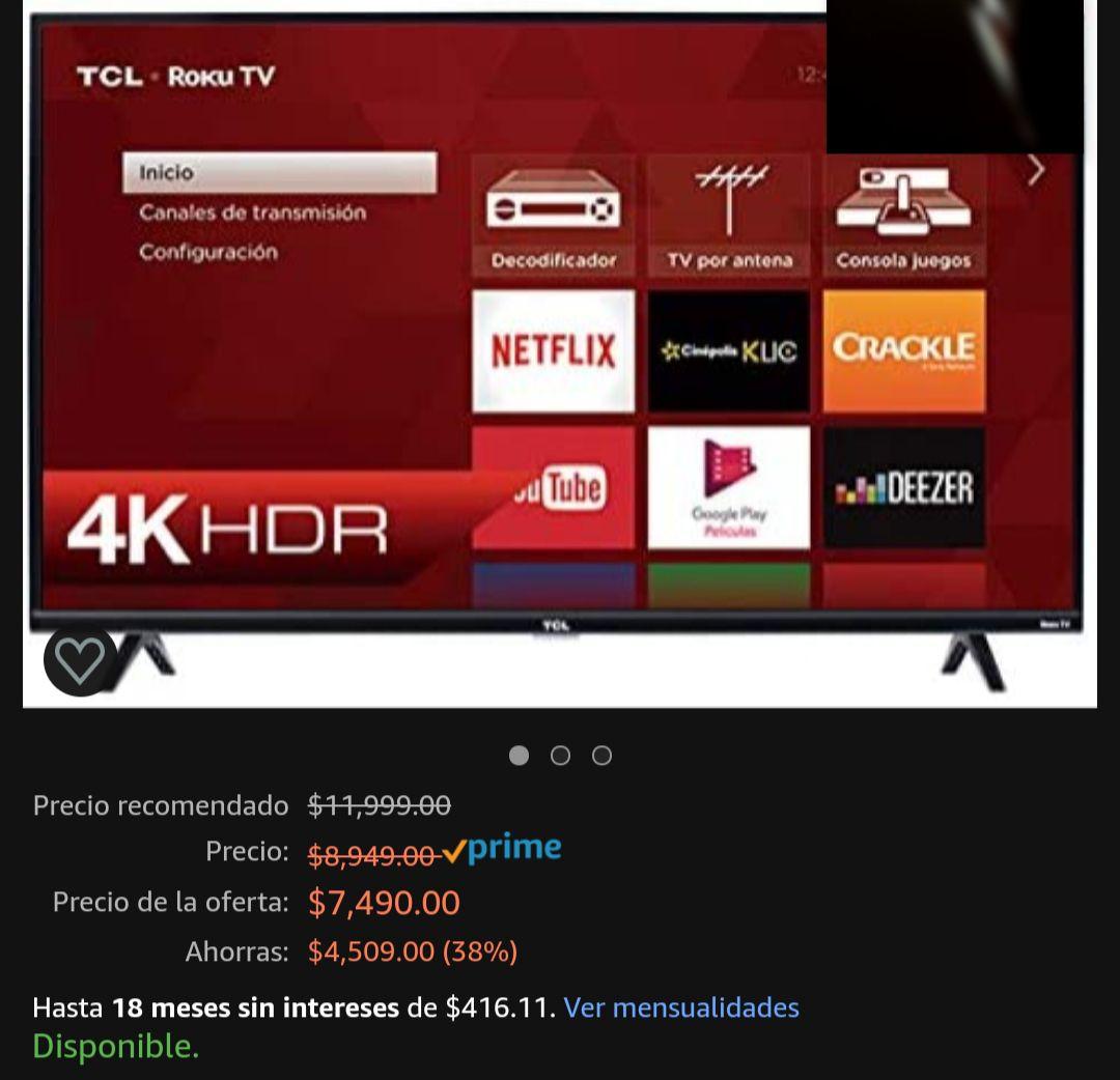 "Amazon: Pantalla TLC 55"" 4K a $6595 (Tarjetas Participantes)"