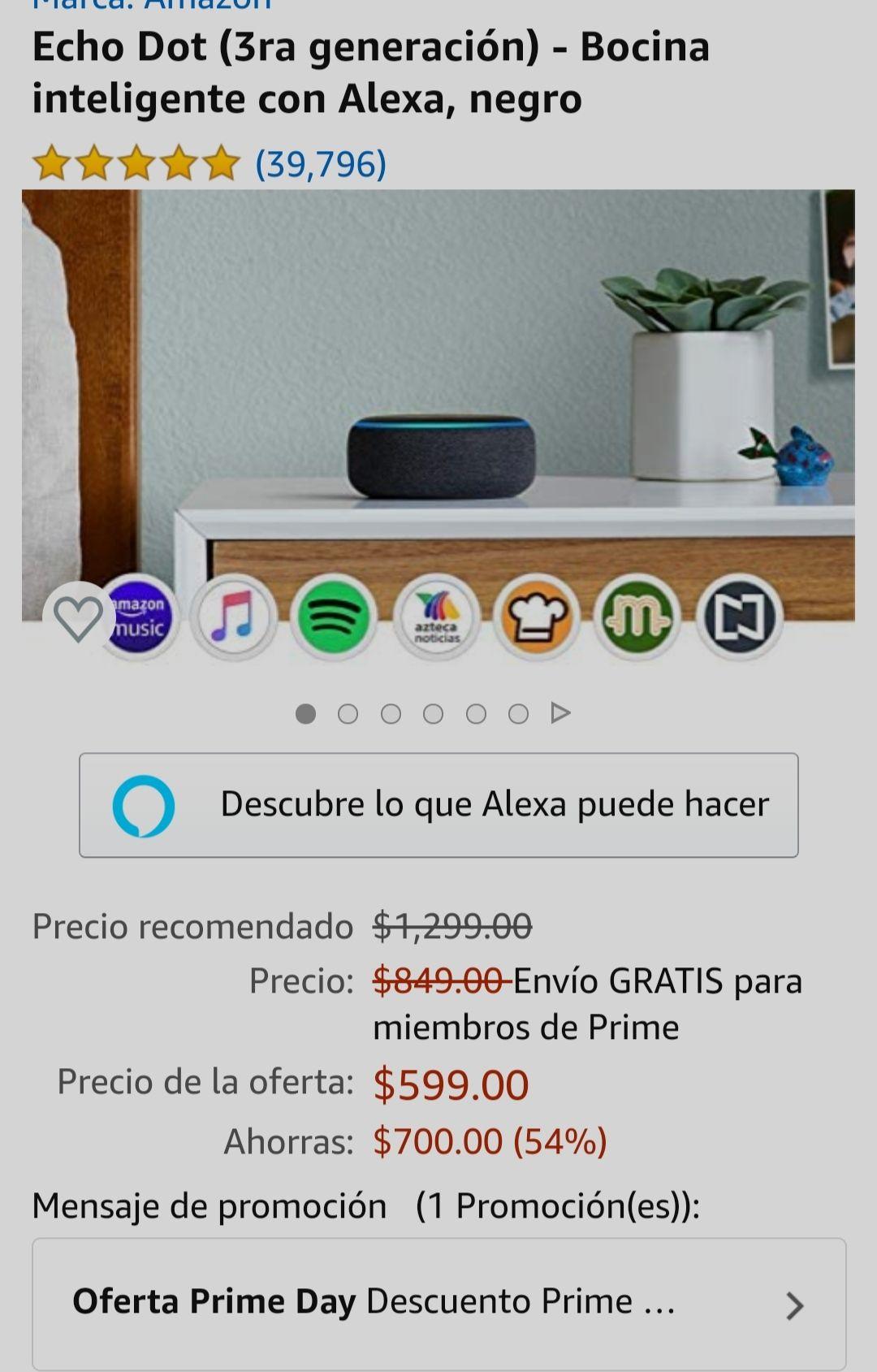 Amazon: Echo dot 3ra Generación en Prime Days