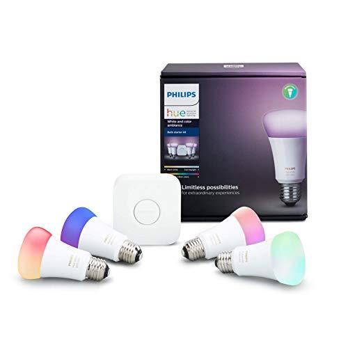 Amazon: Philips Hue White and Color Ambience - Kit de inicio con puente y 4 lámparas blancos y de color, LED, 10 W, A19
