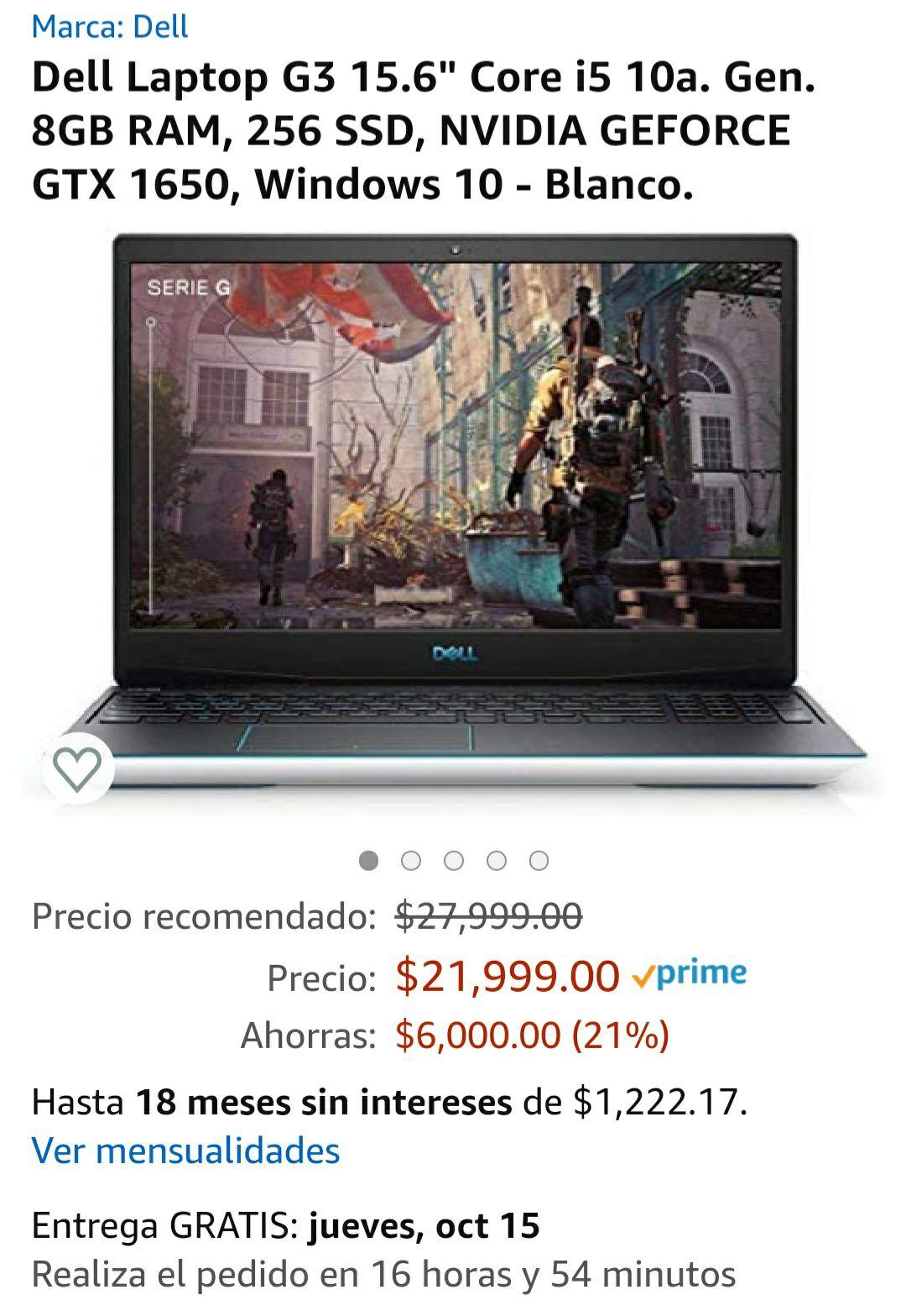 Amazon: Laptop Dell G3 (Citibanamex)
