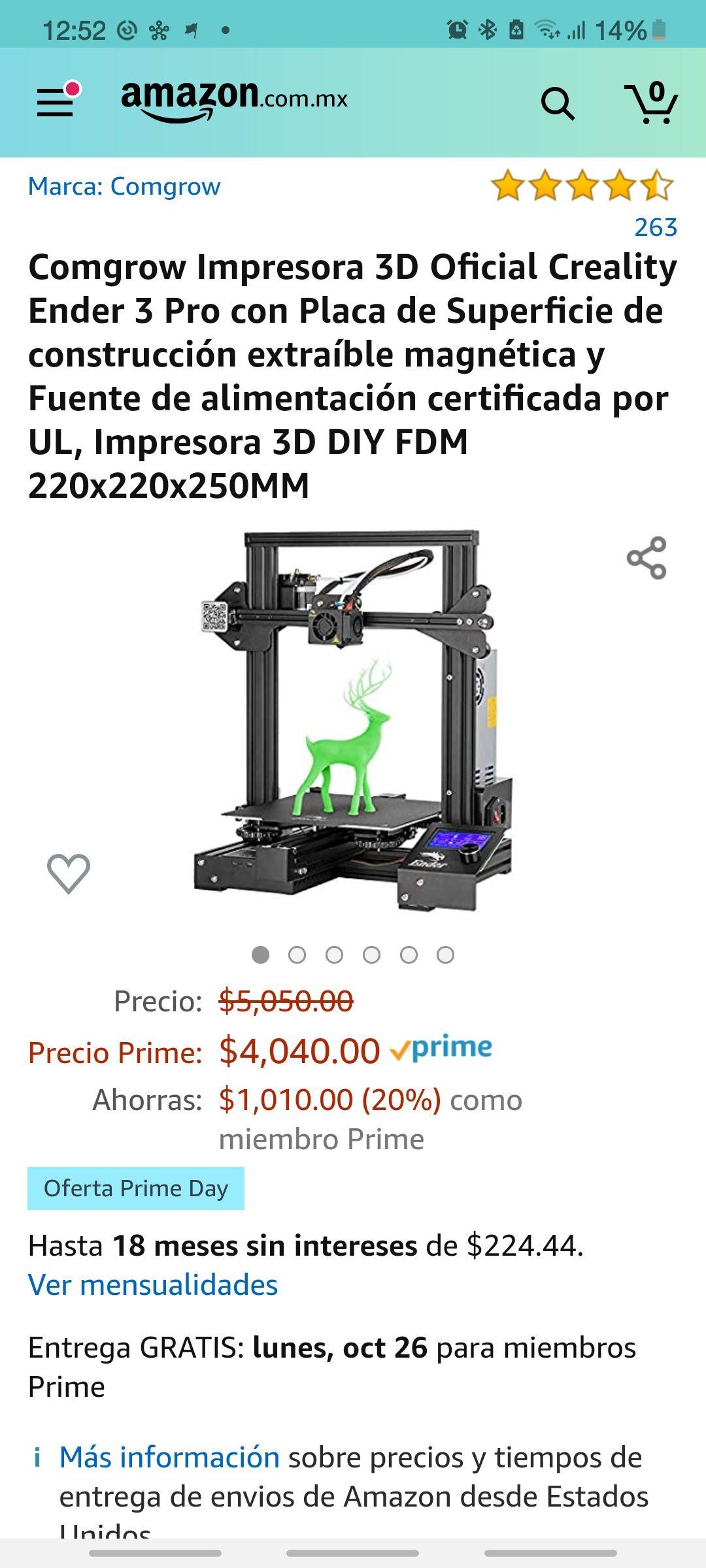 Amazon: Impresora 3D Creality Ender 3 Pro