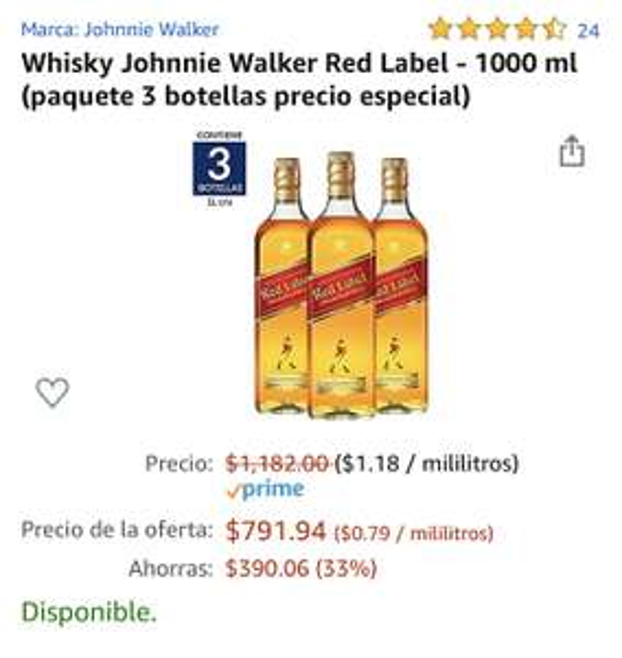 Amazon: Whisky Johnnie Walker Red Label 3 botellas de litro