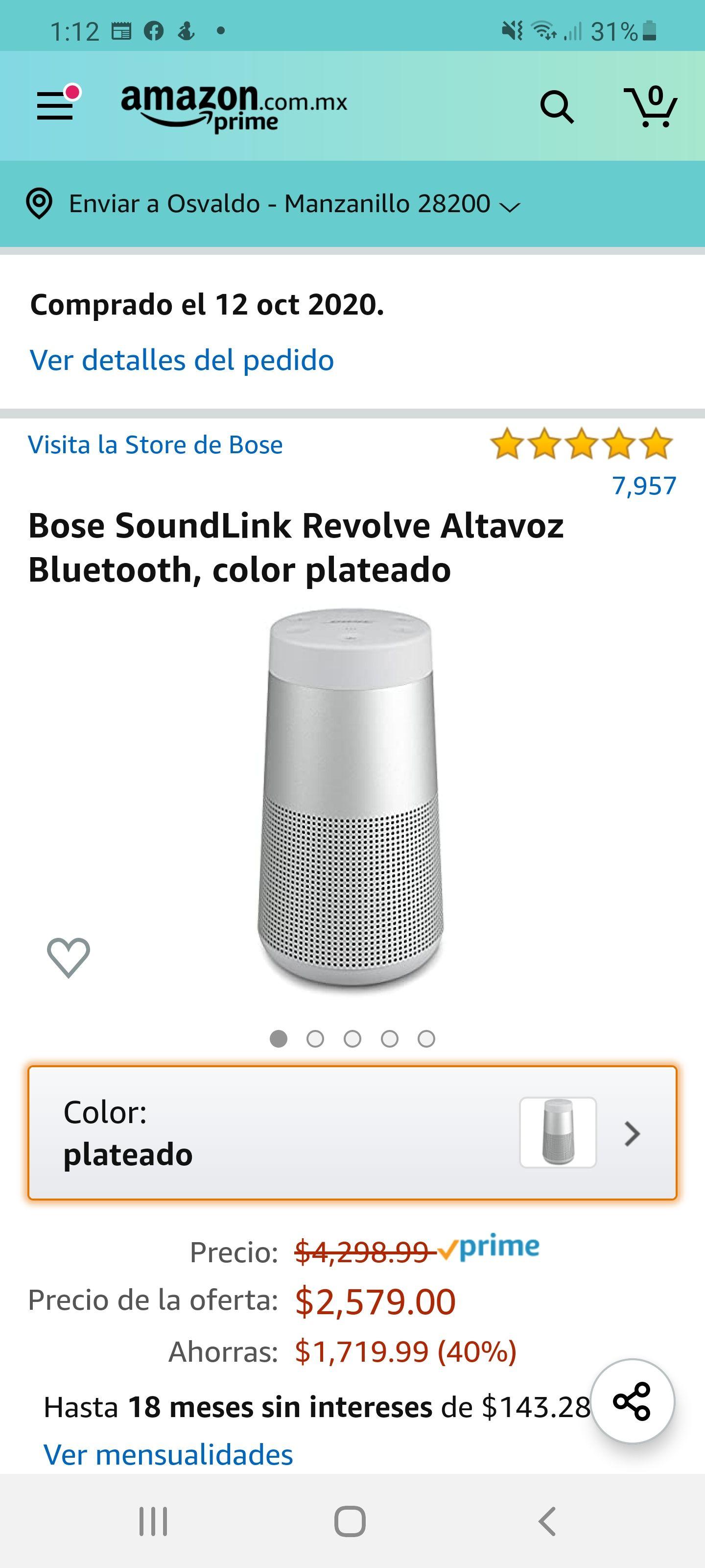 Amazon: Bose Soundlink Revolve con Banorte Tarjeta Digital