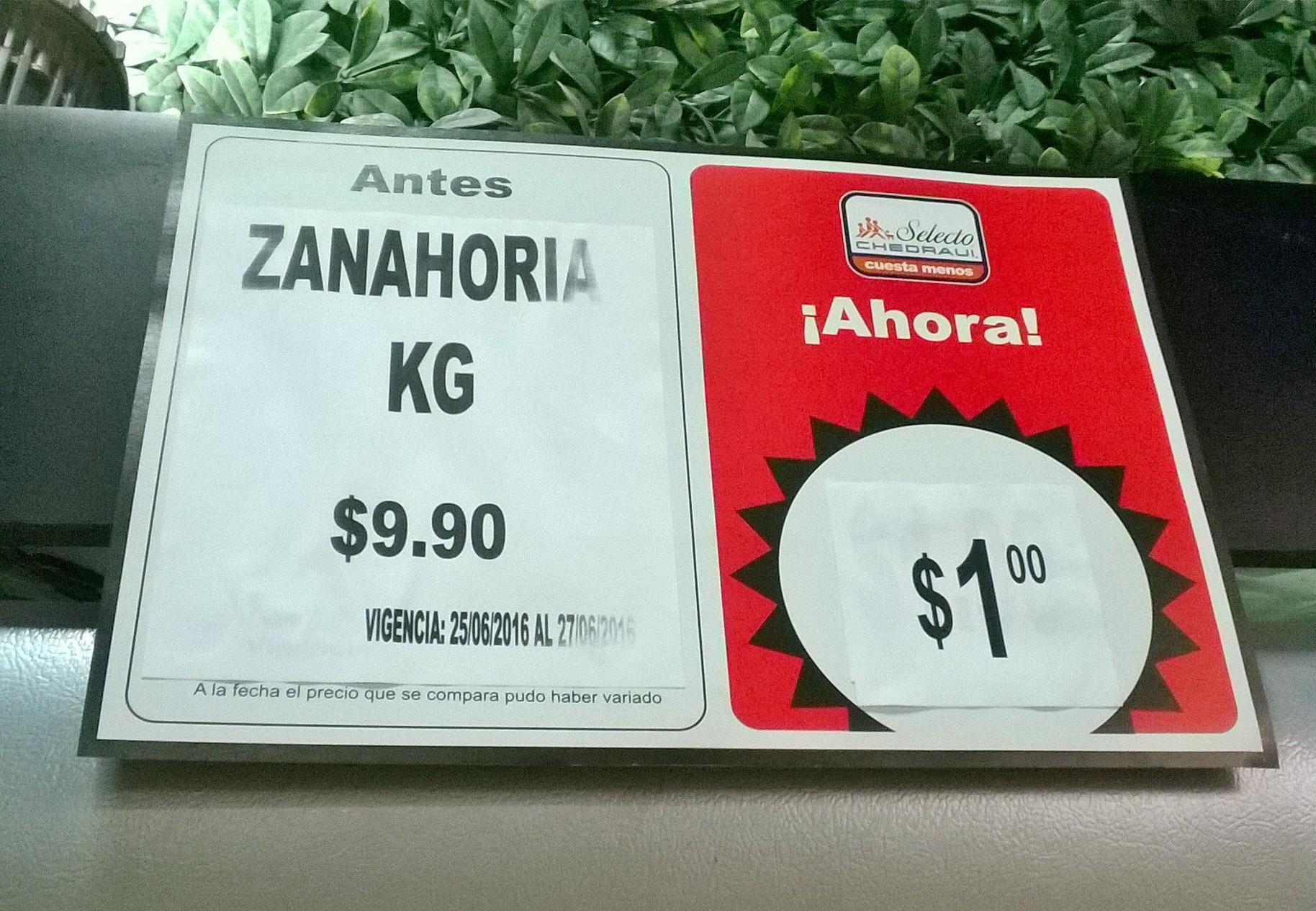 Chedraui Santa Fe: zanahoria 1kg a $1