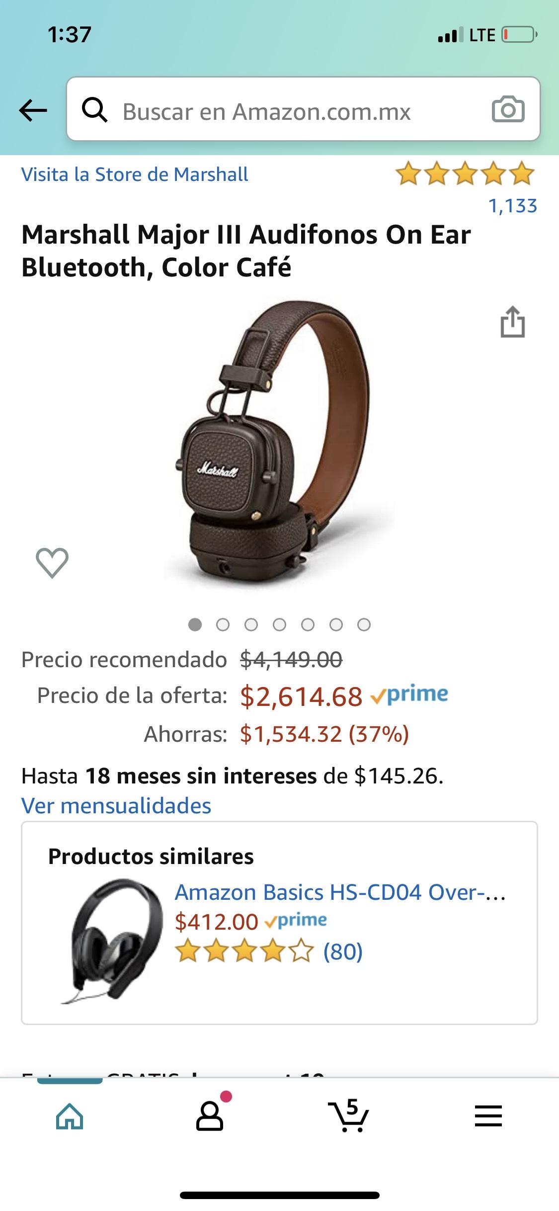 Amazon: Marshall Major III Audifonos On Ear Bluetooth, Color Café