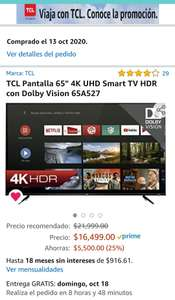 Amazon: pantalla TCL ANDROID TV 65""