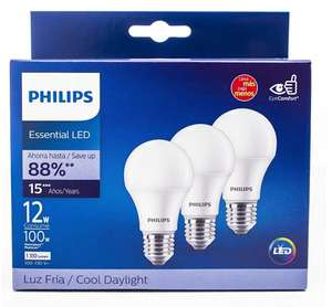 Amazon: Philips Set 3 Focos LED luz fría A19 12W(100W)