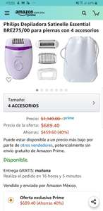 Amazon: Philips Depiladora Satinelle Essential BRE275/00 para piernas con 4 accesorios