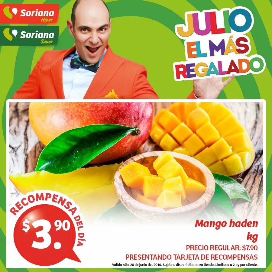 Soriana Hiper: Recompensas del dia 28,29 y 30 de Junio Mango Haden a $3.90 kg y más