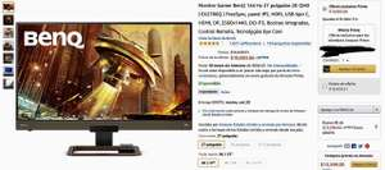 Amazon: Monitor Gamer BenQ 144 Hz 27 Pulgadas 2K