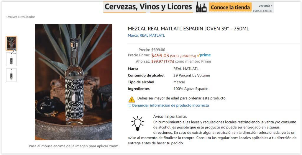 Mezcal Real Matlatl en Amazon
