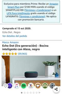 Amazon - Echo Dot 3ra Gen y Echo Smart Plug ambos por $699 - Miembros Prime
