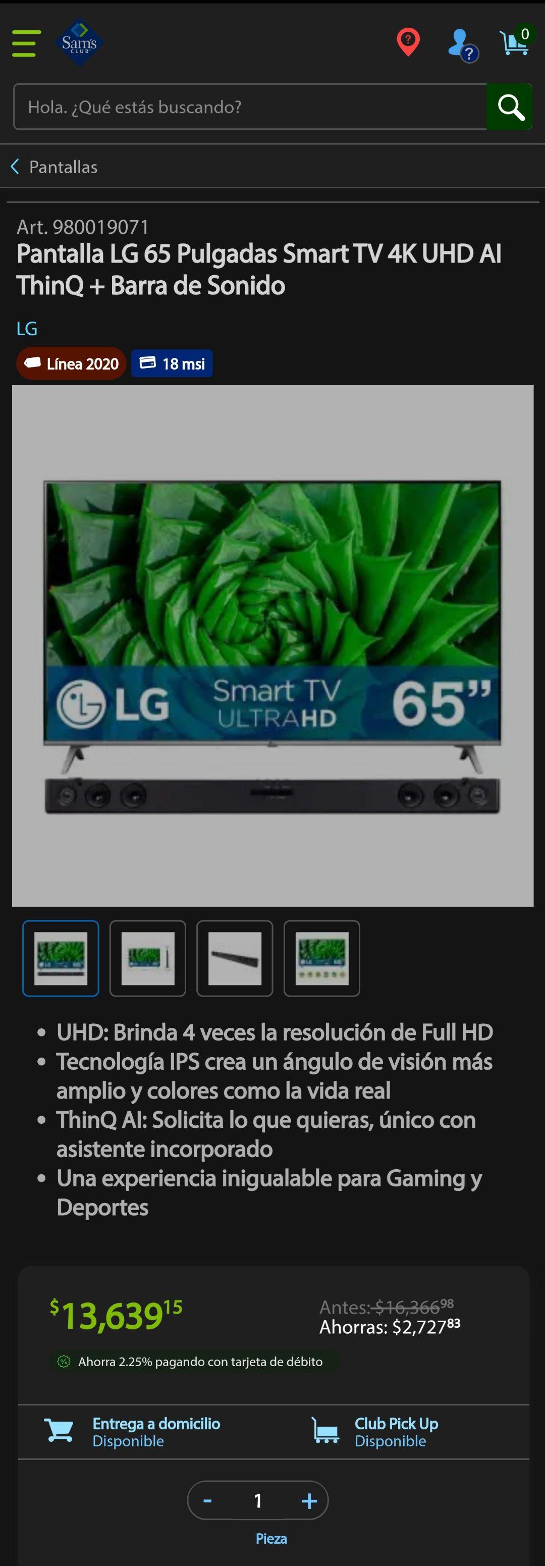 Sam's Club: Pantalla LG 65 Pulgadas Smart TV 4K UHD AI ThinQ + Barra de Sonido con banorte