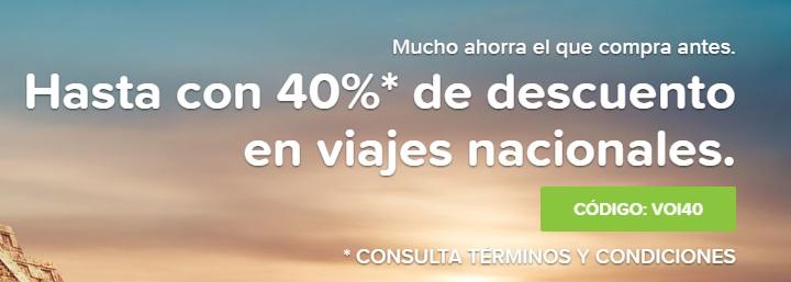 Volaris: Hasta con 40%* de descuento en viajes nacionales usando el código VOI40 en volaris.mx