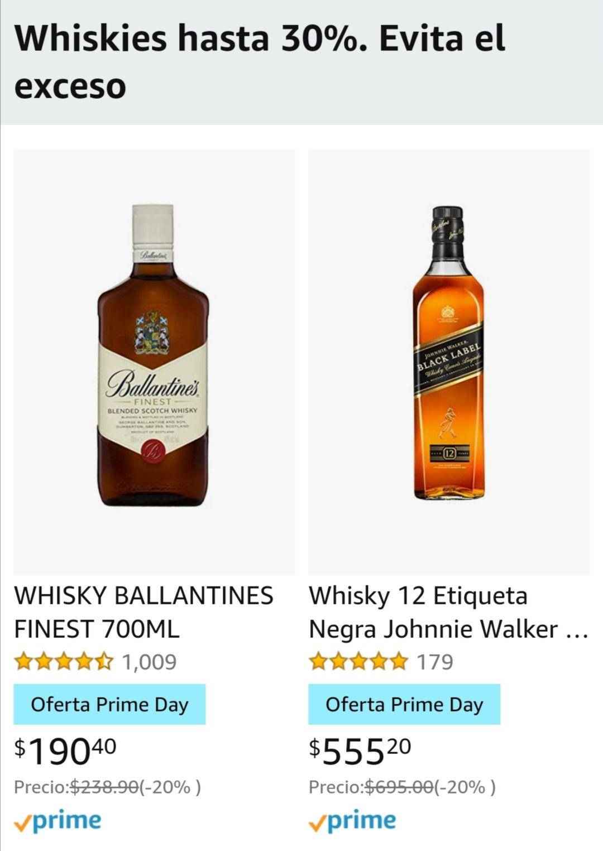 Amazon: Whiskey's gran variedad hasta 30% de descuento