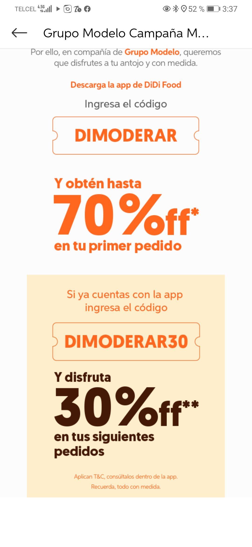 Didi food: cupón de 70% usuarios nuevos, 30% usuarios existentes