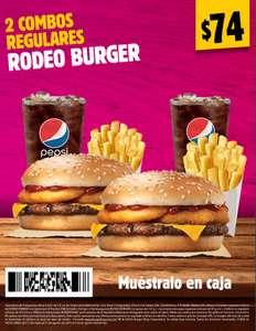 Burger King: 2 combos regulares Rodeo Burger por $74 con cupón