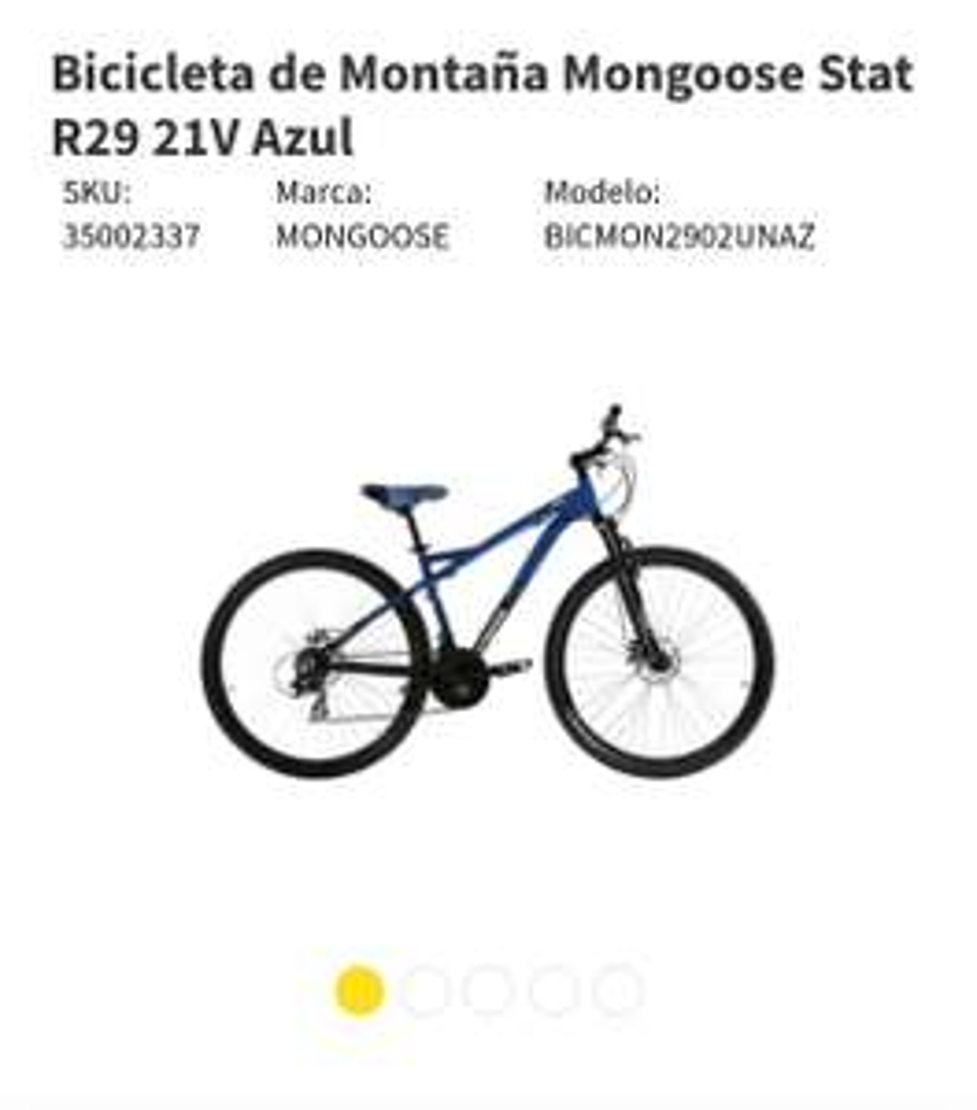 Elektra: Bicicleta de Montaña Mongoose Stat R29 21V Azul aluminio y frenos disco