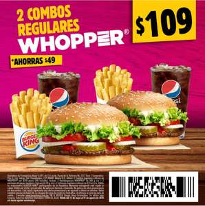 Burger King: 2 combos regulares Whooper a $109 con cupón