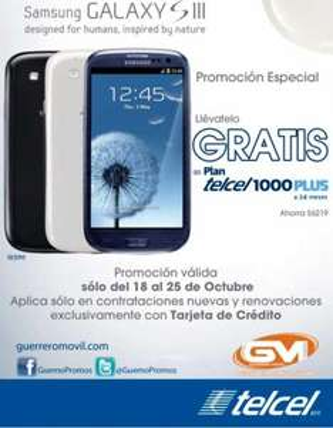 Samsung Galaxy S3 gratis en Plan Telcel 1000 Plus o S2 en 500 Plus (R9)