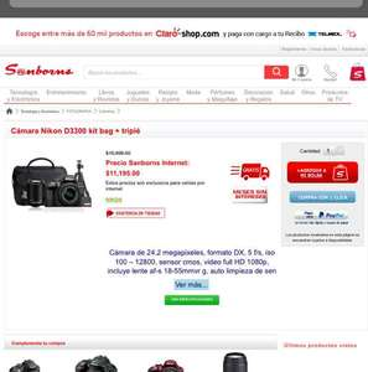Sanborns: Kit Nikon D3300 a $11,195