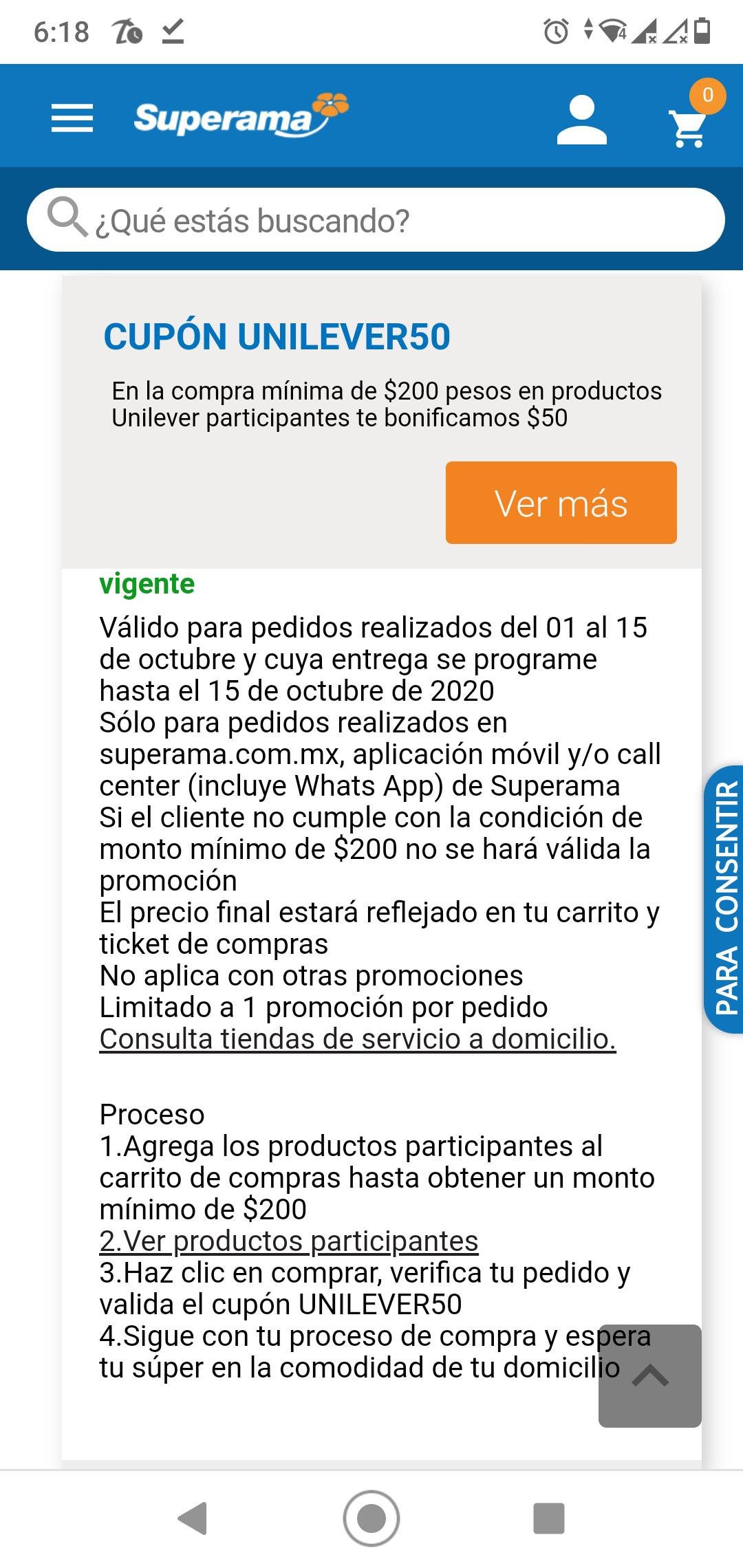 Superama: $50 de descuento en compras de $200 de productos unilever