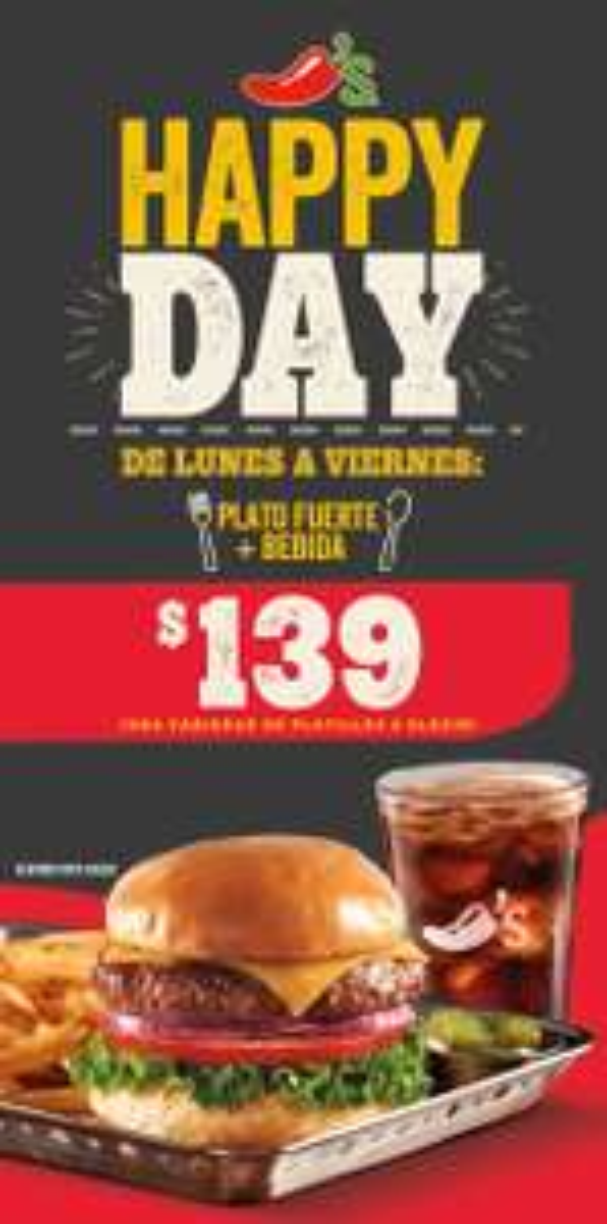 Happy Day en Chili's: Platillo más bebida por $139