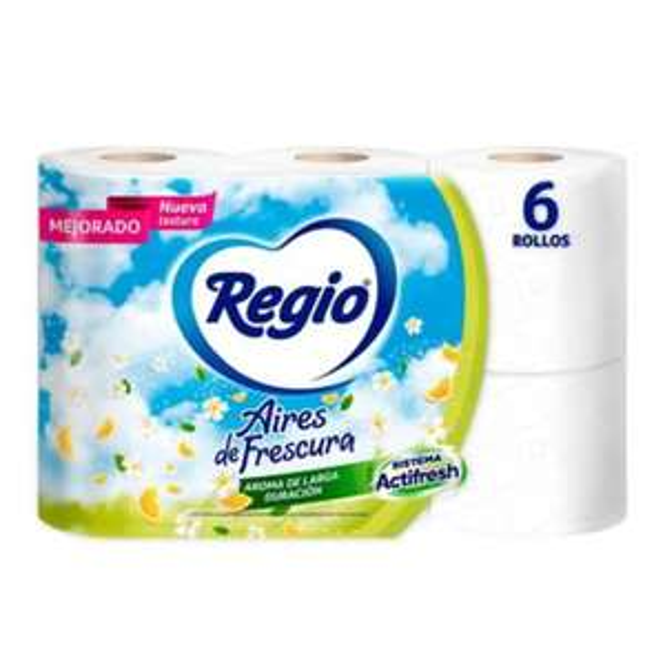 Walmart:Papel higiénico Regio aires de frescura 6 rollos con 250 hojas dobles
