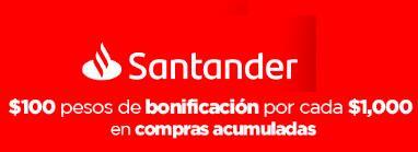Santander: Supermercados $100 de bonificación por cada $1,000 en compras