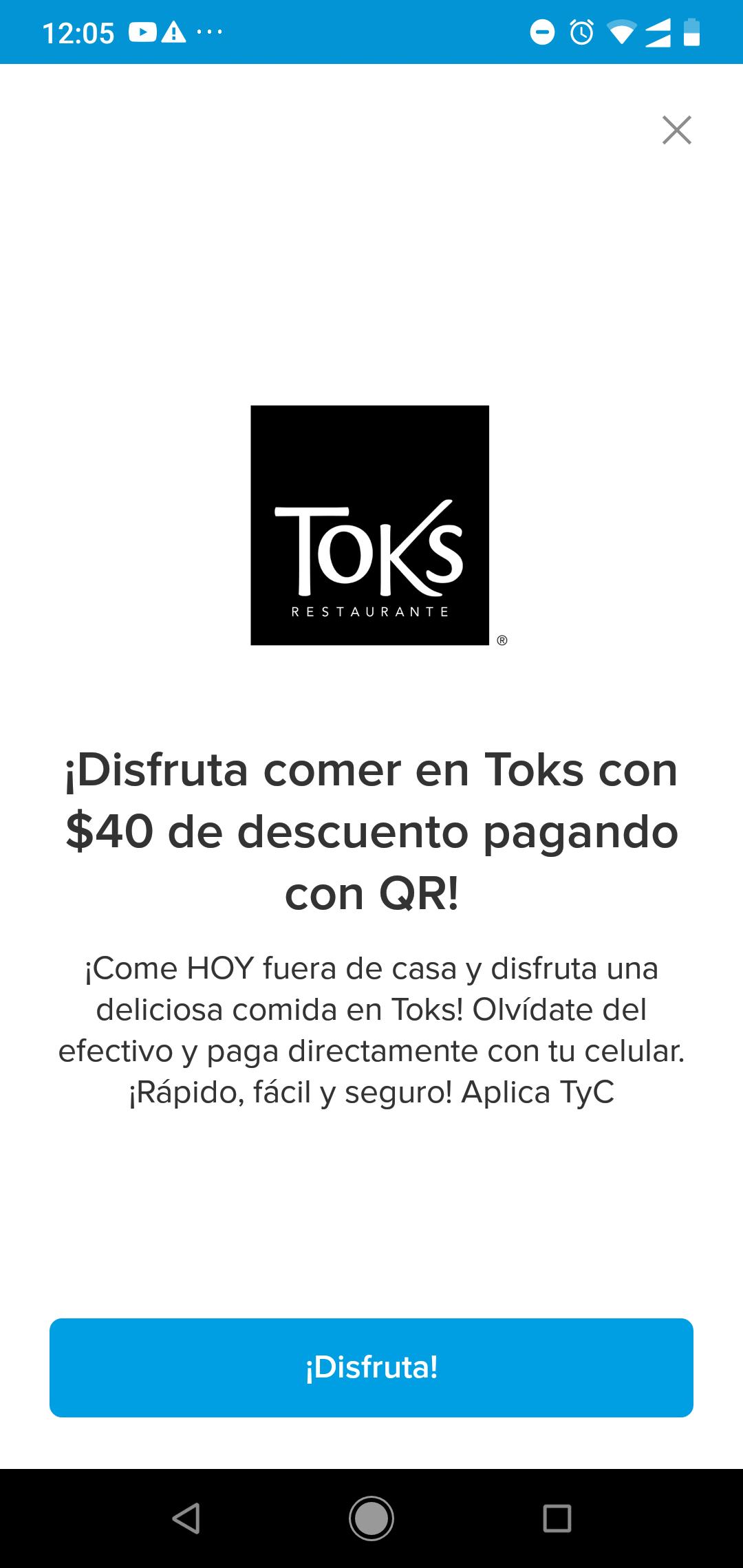 Mercado pago $40 pesos de descuento pagando con que en Toks compra mínima 150