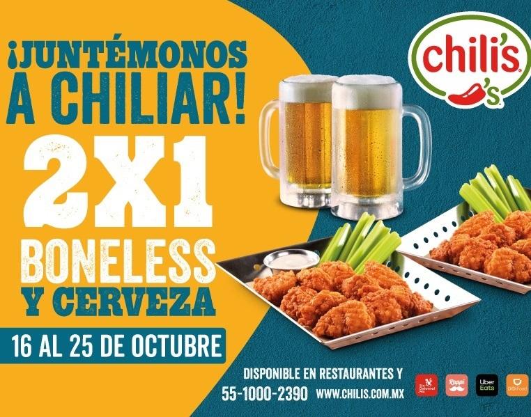 Chili's: 2x1 en Boneless y Cerveza (en restaurante y a domicillio)