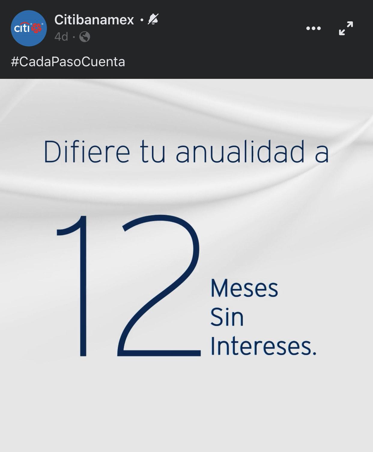 Citibanamex: Anualidad diferida hasta 12 meses sin intereses