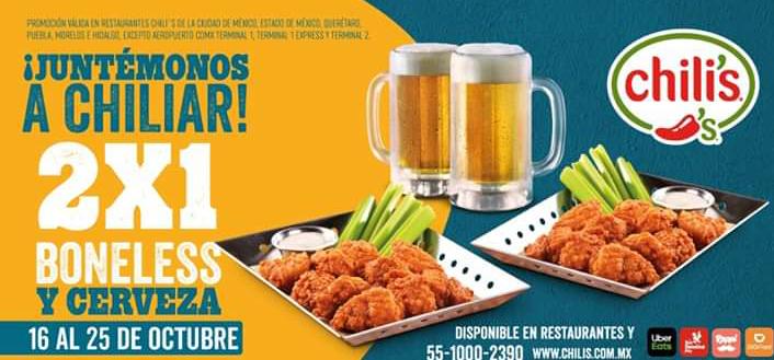 Chili's: 2X1 en Boneless 10piezas y 2X1 Cervezas de Todos los Tamaños (Del 16 al 25 de octubre)
