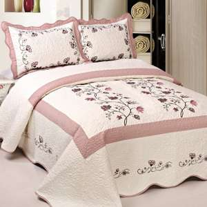 Amazon: Fashion Street Vineyard Pre-Washed Quilt, 86 by 94-Inch, Pink