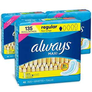 Amazon: Always Maxi Feminine Pads with Wings for Women, Size 1, Regular Absorbency, Unscented, 45 Count - Pack of 3 (135 Count Total)