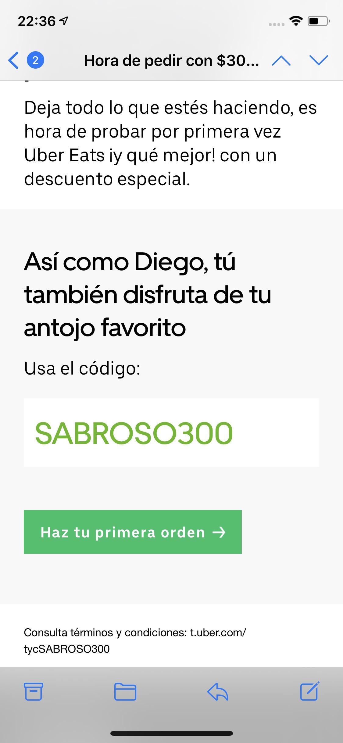 Uber eats: $300de descuento en primera orden