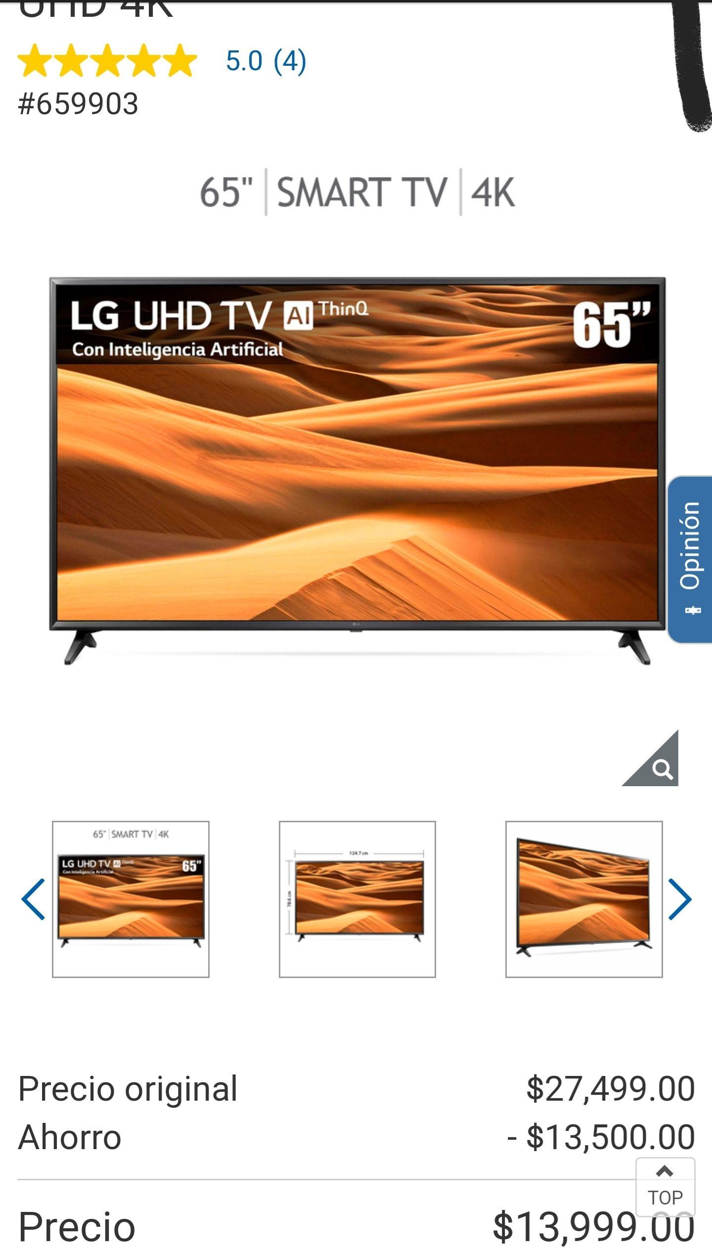 "Costco: LG Pantalla 65"" LED Smart TV UHD 4K"