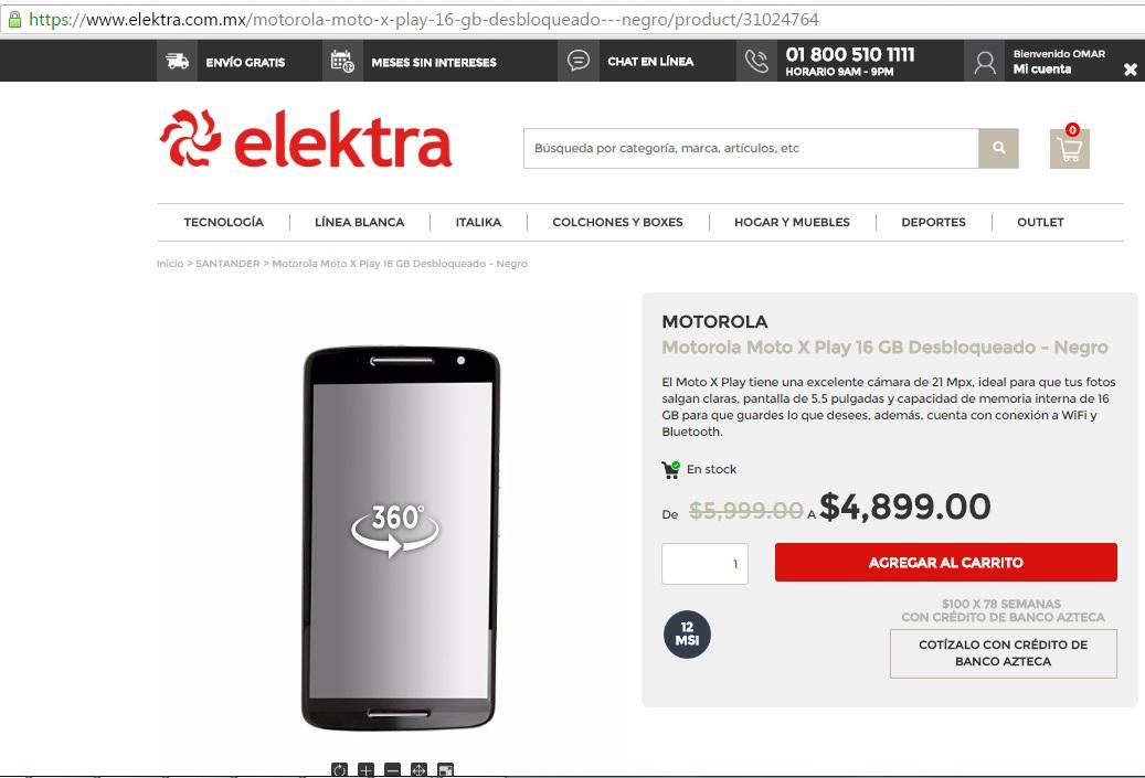 Elektra en línea: Motorola Moto X Play 16Gb Desbloqueado - Negro